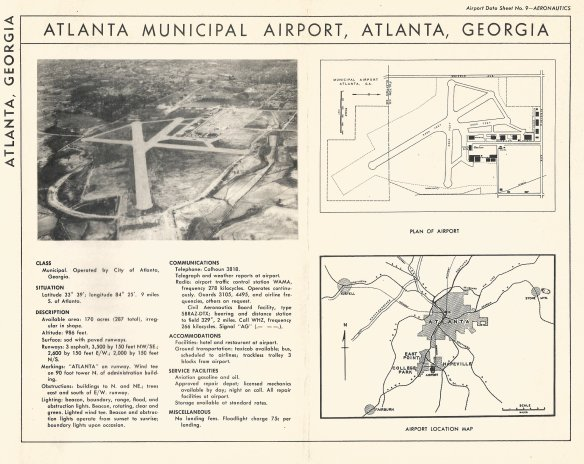 Atlanta Airport Data Sheet circa 1940