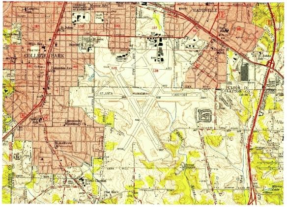 Atlanta Airport topo 1955