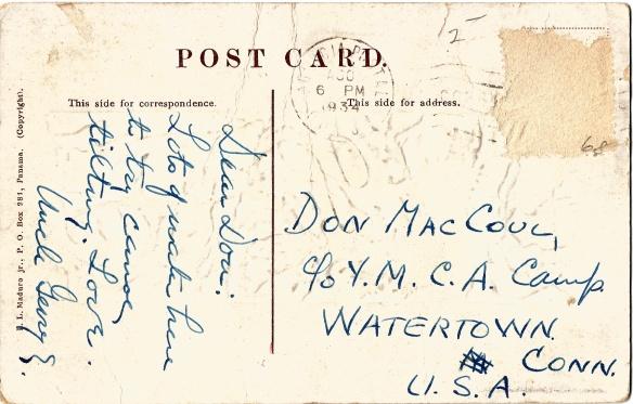 Panama Canal Postcard Back