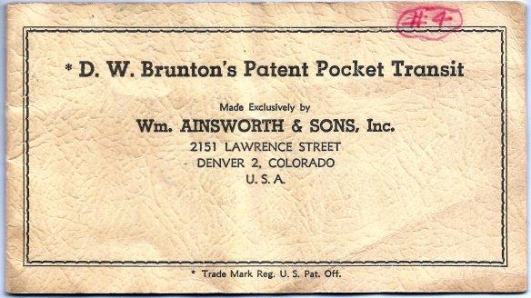 Brunton Pocket Transit 1957 - Front Cover