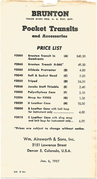 Brunton Pocket Transit 1957 - Price List
